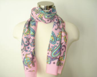 Vintage Pink Long Scarf - Bright Paisley Scarves - Women's Autumn Accessories 1980s