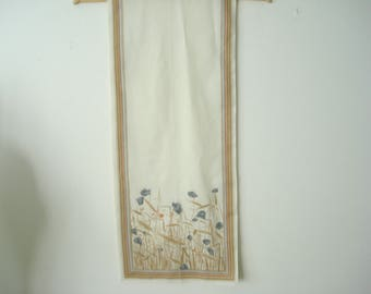 Vintage Cream Flowers and Wheat Long Fall Fashion Scarf - Autumn Accessories 1970s