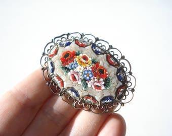 Vintage Micro Mosaic Brooch -  Large Oval Rose Daisy Pin Handmade Italy 1960s