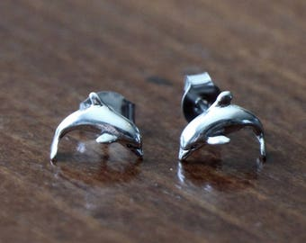 Dolphin Stud Earrings- Sterling Silver- Beach Jewelry- Sailors Jewelry- Ocean Jewelry- Ocean Earrings