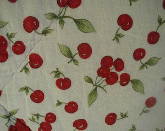 Vintage Comforter-Bedspread, with Bright Red Cherries, Flannel Comforter, Twin Bed Size, Fully Reversible