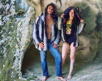 Reversible Faux Fur Mens jacket, perfect for BurningMan!