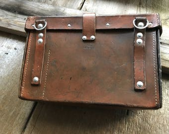 Swiss Army Bag, First Aid, Military Medic, Soldier, Rustic Leather, Dated