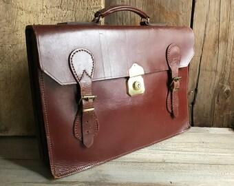 Brown Leather Briefcase Attache, Made in England, Cheney Brass Lock