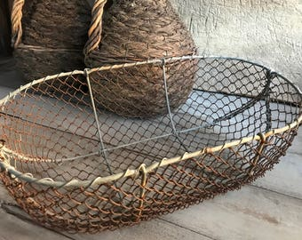 French Harvest Farm Basket, Flower Garden Picking, Metal Mesh Wire Steel, French Industrial Farmhouse