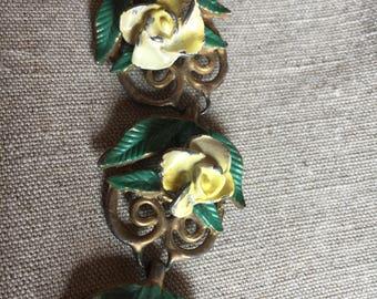 Floral Painted or Enameled Bracelet