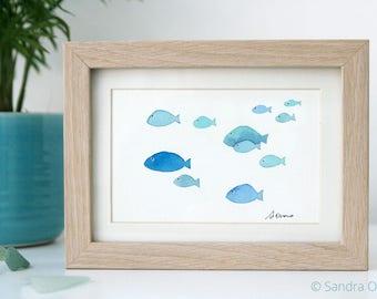 School of Fish Watercolor Painting. Original Illustration. Blue Kids room wall decor, Nautical Nursery Art, Ocean Art, Beach Cottage Decor