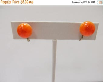 ON SALE Vintage Orange Lucite Ball Earrings Item K # 1084