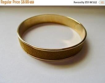 ON SALE Vintage Suede and Gold Tone Metal Bangle Bracelet Item K # 2605