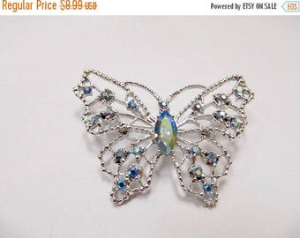 ON SALE Vintage Blue Iridescent Rhinestone Butterfly Pin Item K # 2656