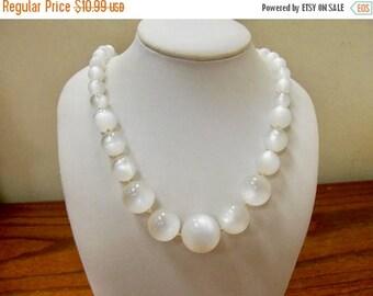 ON SALE Vintage Graduated White Moonbeam Lucite Beaded Necklace Item K # 245