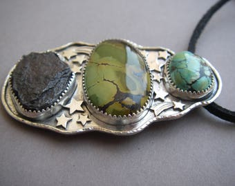 Meteorite and turquoise cosmic pendant
