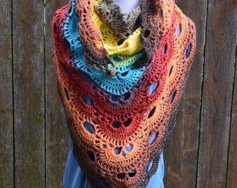 Crochet Virus Shawl, Prayer Shawl, Multi Colored Scarf, Wool Shawl, Virus Wrap