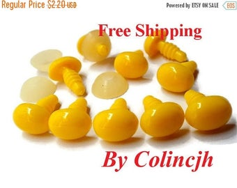 On Sale 8mm - 10Pcs - Yellow - Oval Safety Nose / Plastic Nose