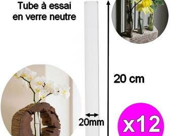x 12 pieces 20cm width 20mm glass Test Tubes
