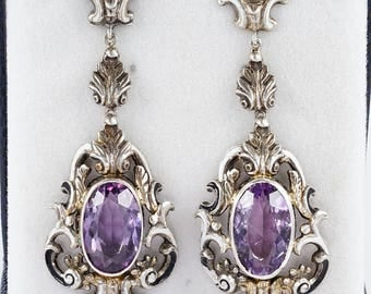 Georgian amethyst enamel rococo long earrings