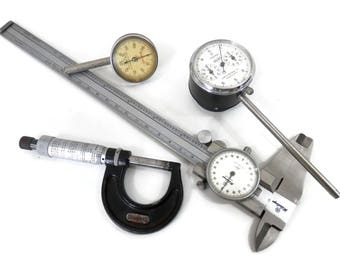 Set 4 Old School Machinist Tools Calipers Measures and Gauges Mitutoyo Dial Caliper Starrett Gauges