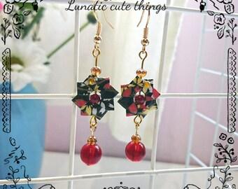 Origami Wreath Earrings - Paper Jewelry - black and red paper Earrings - Origami Jewelry