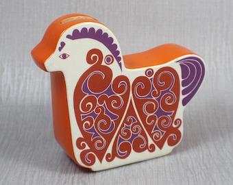 1960s CarltonWare Carlton Ware Horse Money Box  White Orange Red and Purple Heart Pattern