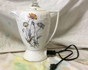 Vintage Ceramic Electric Coffee Tea Pot made in Japan Whicker Floral Design
