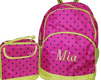Backpack, Hot Pink and  lime, polka dot backpack,  lunch box set,  personalized free