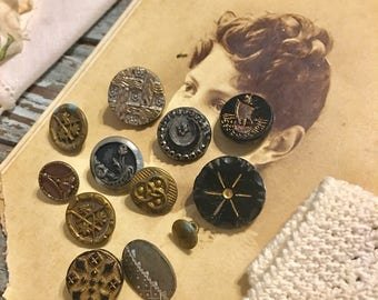 Antique Victorian BUTTON Lot Steel  Mirror Back - Antique Collector Buttons Button Destash