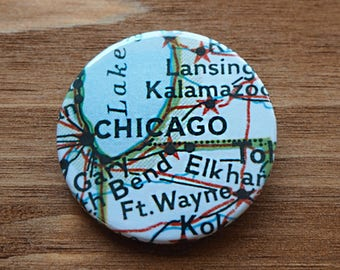 Pinback Button, Chicago, USA, Ø 1.5 Inch Badge, Atlas, Travel, vintage, fun, typography, whimsical