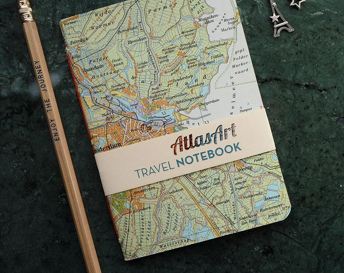 NOTEBOOK SMALL, Netherlands, AMSTERDAM, 4x5,8inch, 32 p., plain/ruled, travel journal, diary, atlas, map, vintage, upcycling