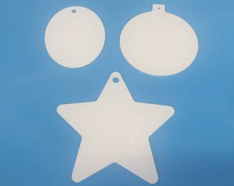 Plastic Ornament, multiple shapes, ready to decorate, great as a holiday gift!!