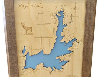 Wood Laser Cut Map of Hayden Lake, Idaho Topographical Engraved Map