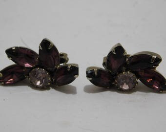 Vintage Purple Rhinestone Clip On Earrings