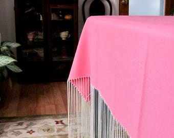 Bohemian Valentine's Day Pink Fringed Tablecloth, Pink Shawl, Square Pink Square Tablecloth, Shabby Chic Tablecloth, Cottage Style Decor