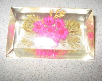 Lucite Flower Pin Brooch Vintage Costume Jewelry #3211