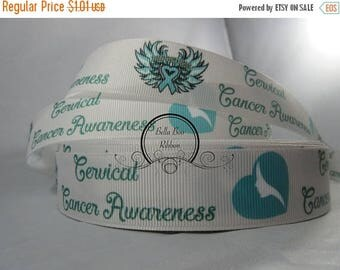 Cervical Cancer Awareness ribbon, Awareness Grosgrain Ribbon by the Yard 1 Inch RN17019