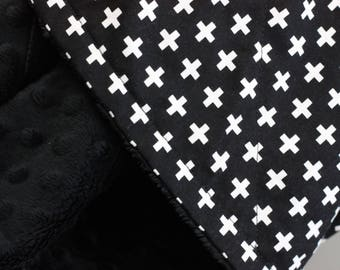White Crosses on Black Baby & Toddler Minky Blanket ~ Made with Designer Cotton and Luxurious Black Minky