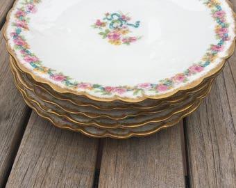 AHRENFELDT LIMOGES FRANCE  Bread and Butter Plates -  Set of 5 Limoges Plates