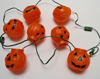 vintage Halloween lights, blow mold jack o lantern pumpkins, light up Halloween decoration