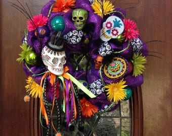 Whimsical Bright Colored Day of the Dead Wreath