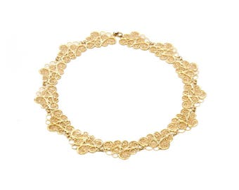 Gold Plated Filigree Clouds Collar