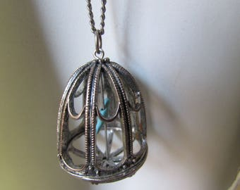 Necklace Bird in a Cage long chain Silver. Blue Bird