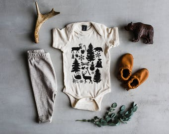 Baby's First Christmas Bodysuit • Unique Winter Holiday Illustration Baby Outfit •Rustic Modern Christmas Outfit for Baby •  FREE SHIPPING