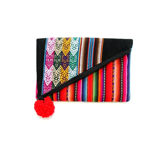 SALE! Small, clutch, black, red pom pom Peruvian, stripes, flat bag