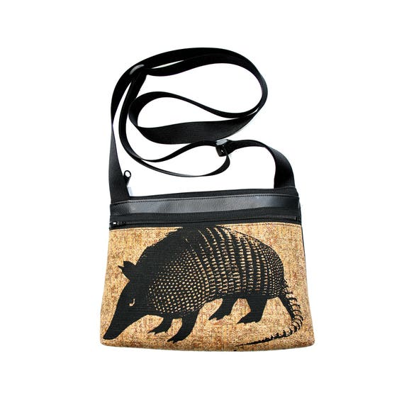 Armadillo, silkscreen, brown, boxy cross body, vegan leather, zipper top