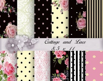 50% off Digital Background: Pink and Black, Pink and White, Pink Roses, Yellow Shabby Chic, Printable Scrapbooking, Commercial Use   104 c