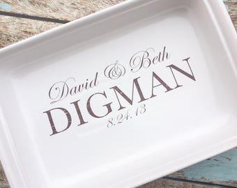 custom oven safe pan with wedding logo, wedding gift, custom wedding gift, custom bridal shower gift, personalized baking pan, pan with name