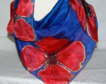Hand Dyed Poppies on Navy Blue Square Silk Scarf