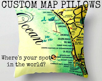 Custom Map Pillow Cover 18x18 Decorative Pillow Personalized Pillow, Vintage Map Pillow Map Throw Pillow, World Map Throw Pillow, home decor