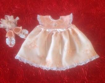 Baby Girl Coming Home Dress Set - Peach & White