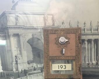 Vintage bank front/lock/metal/lock/bank/glass/shelf display/industrial