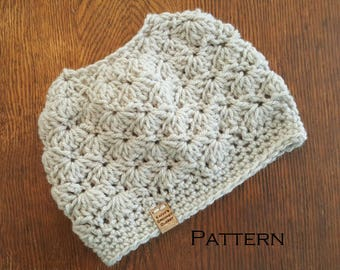 Crochet Bun Beanie PATTERN Wavy Shells Bun Hat Pattern Only Messy Bun Ponytail